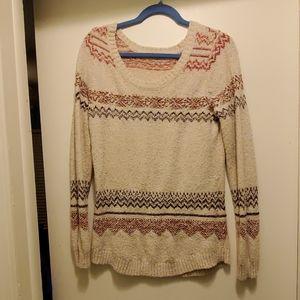 Aztec print long sleeve sweater